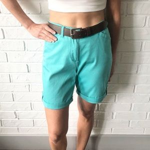 Vtg high rise flat front cuffed teal 80s mom short